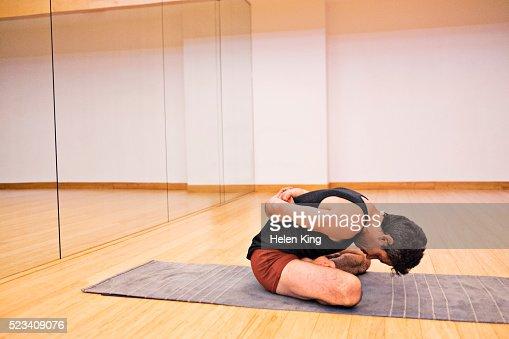 Yogi Finishing Practice With Bound Lotus Pose High-Res ...