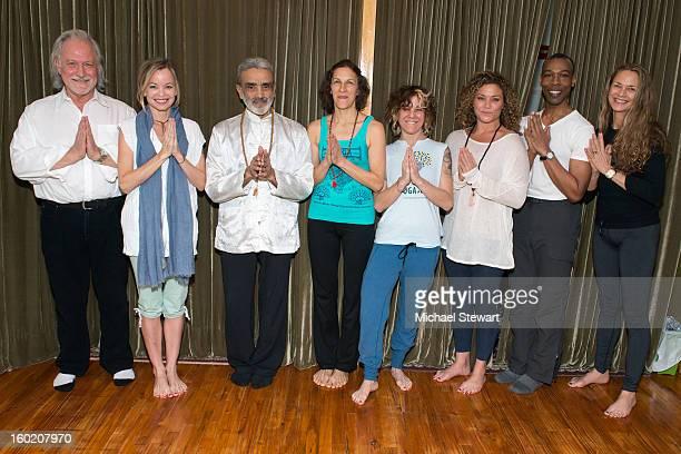 Yogis Alan Finger Kelly Morris Sri Dharma Mittra Kim Jeblick Tricia Donegan Kay Kay Clivio Doublas Stewart and Colleen Saidman Yee attend the Yoga...
