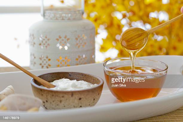 Yogurt and honey on a tray in a spa