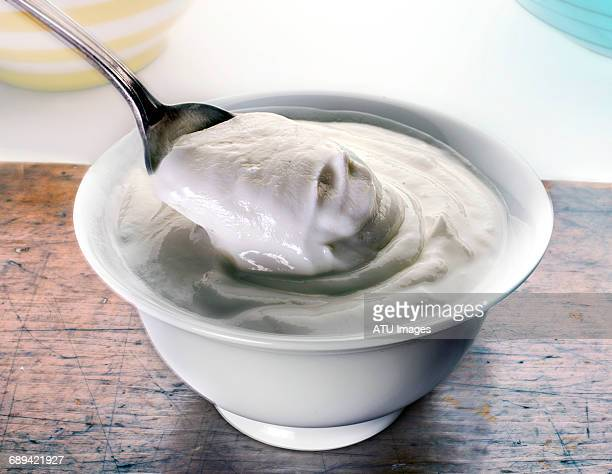 yogurt in dish - yoghurt stock pictures, royalty-free photos & images