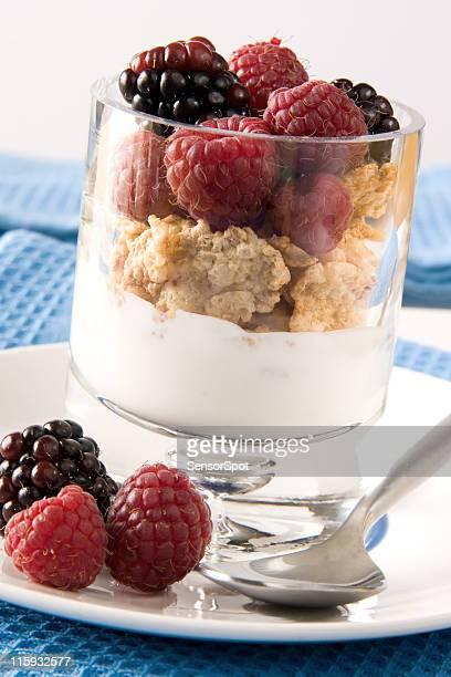 Yogurt with berries.