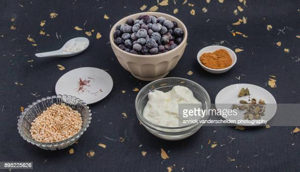 Yogurt with blueberry compote mise en place.