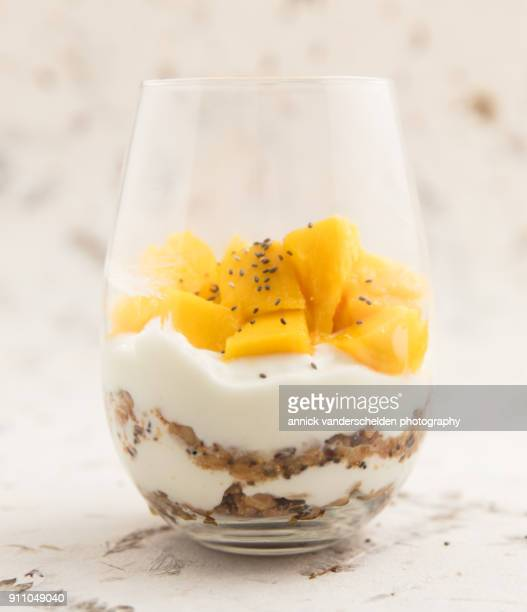 Yogurt with granola,mango and chia seeds.