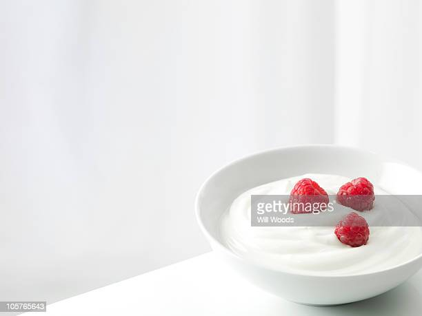 Yogurt with raspberries in a white bowl