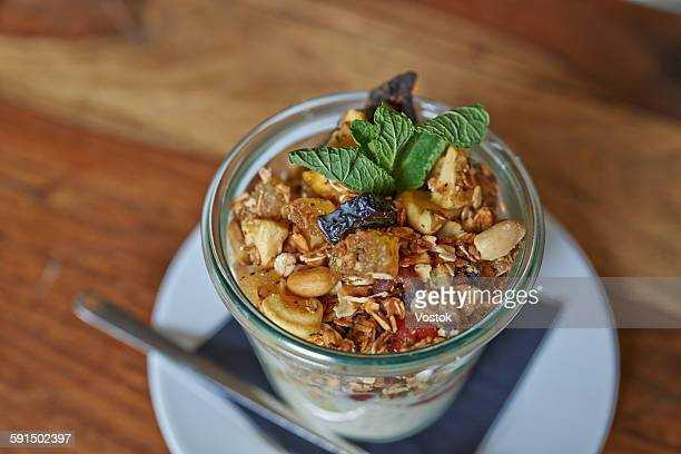 Yogurt-muesli in glass