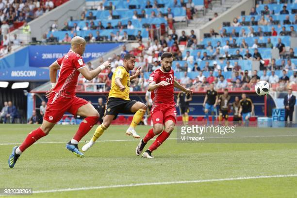 Yohan Ben alouane of Tunisia Eden Hazard of Belgium Hamdi Naguez of Tunisia 41 during the 2018 FIFA World Cup Russia group G match between Belgium...