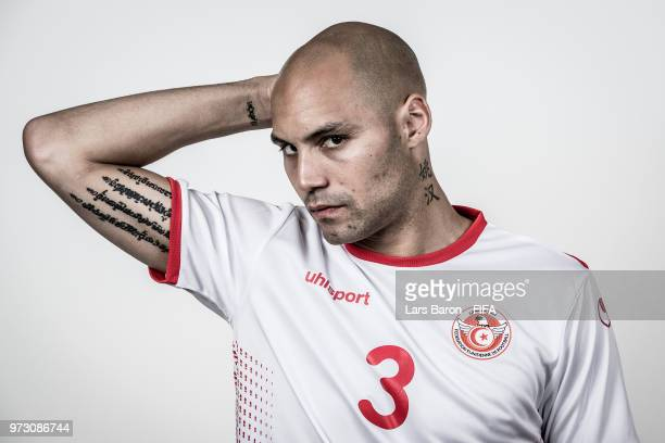 Yohan Ben Alouane of Tunisia poses for a portrait during the official FIFA World Cup 2018 portrait session at on June 13 2018 in Moscow Russia