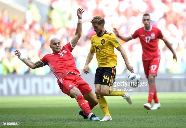 Yohan Ben Alouane of Tunisia tackles Dries Mertens of Belgium during the 2018 FIFA World Cup Russia group G match between Belgium and Tunisia at...