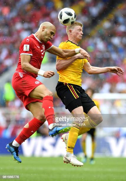 Yohan Ben Alouane of Tunisia wins a header over Kevin De Bruyne of Belgium during the 2018 FIFA World Cup Russia group G match between Belgium and...