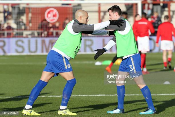 Yohan Benalouane and Ben Chilwell of Leicester City warm up at Highbury Stadium ahead of The Emirates FA Cup Third Round tie between Fleetwood Town...