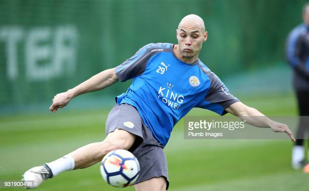 Yohan Benalouane during the Leicester City training session at the Marbella Soccer Camp Complex on March 14 2018 in Marbella Spain