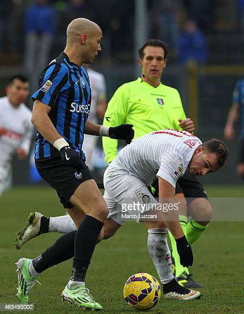 Yohan Benalouane of Atalanta BC is challenged by Xherdan Shaqiri of FC Internazionale Milano during the Serie A match between Atalanta BC and FC...