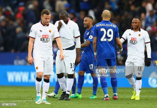 Yohan Benalouane of Leicester City and Juan Camilo Zuniga of Watford shake hands after the Premier League match between Leicester City and Watford at...
