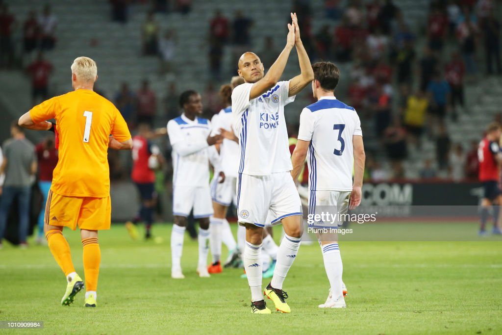 Yohan Benalouane of Leicester City applauds the travelling fans after the pre-season friendly match between Lille and Leicester City at Stade Pierre Mauroy on August 4, 2018 in Lille, France.
