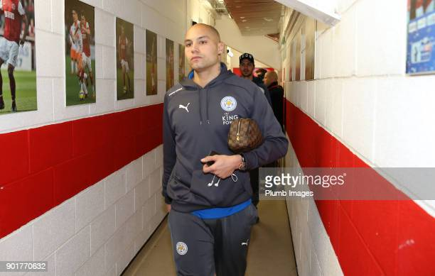 Yohan Benalouane of Leicester City arrives at Highbury Stadium ahead of the The Emirates FA Cup Third Round tie between Fleetwood Town and Leicester...