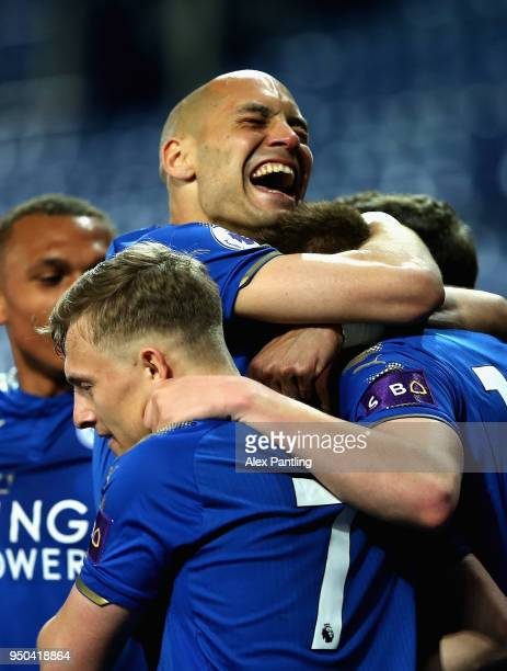 Yohan Benalouane of Leicester City celebrates with teammates after Harvey Barnes scores his sides second goal during the Premier league 2 match...