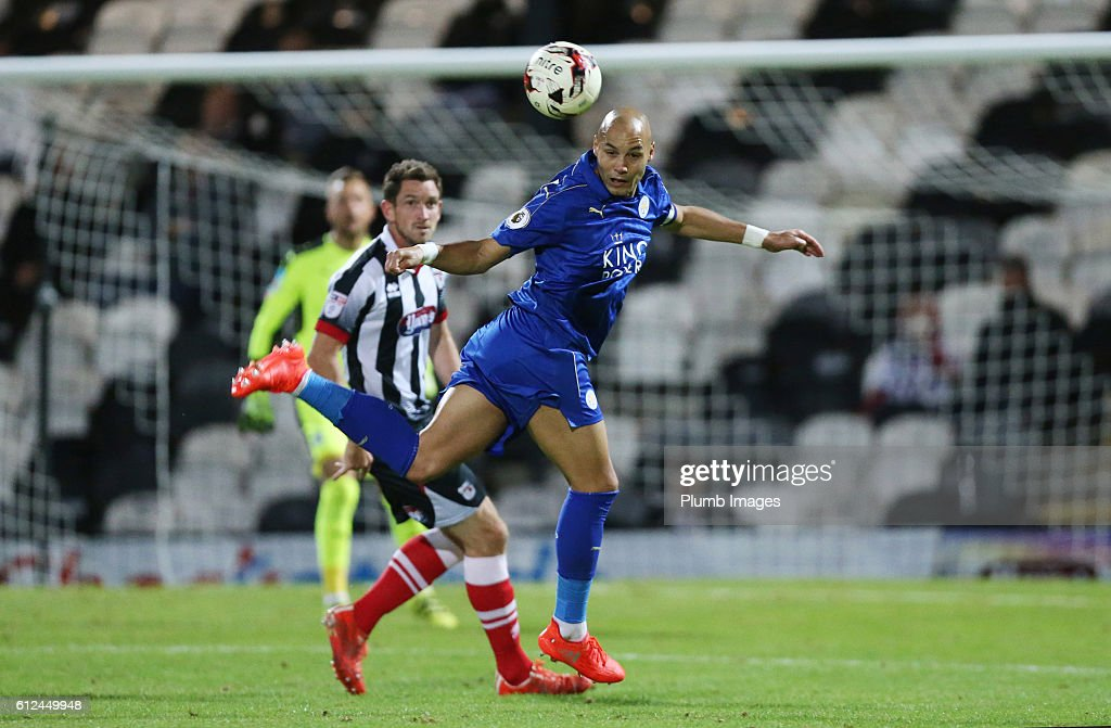 Yohan Benalouane of Leicester City in action during the checkatrade Trophy match between Grimsby Town and Leicester City at Blundell Park on October 04, 2016 in Grimsby, United Kingdom.