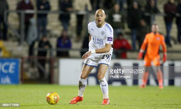 Yohan Benalouane of Leicester City in action during the Checkatrade Trophy tie between Scunthorpe United and Leicester City at Glanford Park on...