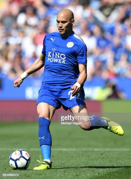 Yohan Benalouane of Leicester City in action during the Premier League match between Leicester City and West Ham United at The King Power Stadium on...