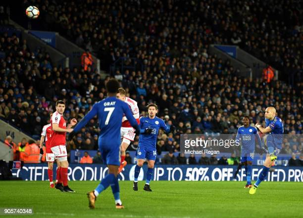 Yohan Benalouane of Leicester City shoots over during The Emirates FA Cup Third Round Replay match between Leicester City and Fleetwood Town at The...