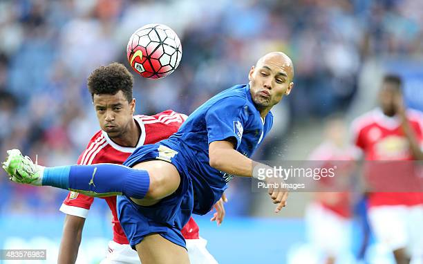 Yohan Benalouane of Leicester City takes on Cameron Borthwick-Fletcher of Manchester United at The King Power Stadium on August 10, 2015 in...