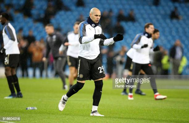Yohan Benalouane of Leicester City warms up at Etihad Stadium ahead of the Premier League match between Manchester City and Leicester City at Etihad...