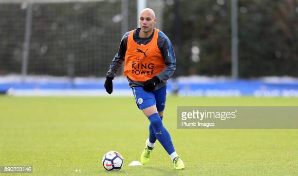 Yohan Benalouane of Leicester City warmsup ahead of the Premier League 2 match between Leicester City and Everton at Belvoir Drive Training Ground on...