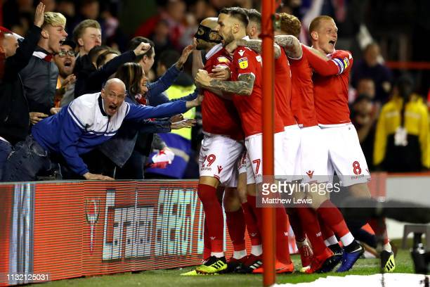 Yohan Benalouane of Nottingham Forest celebrates his goal Sky Bet Championship match between Nottingham Forest and Derby County at City Ground on...