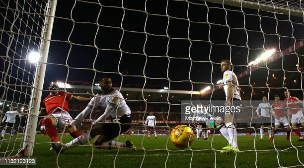 Yohan Benalouane of Nottingham Forest scores a goal during the Sky Bet Championship match between Nottingham Forest and Derby County at City Ground...