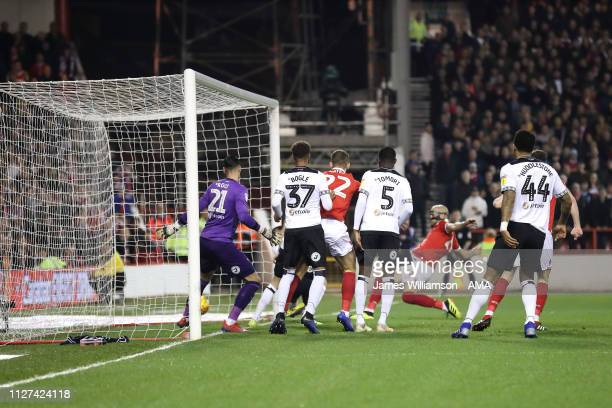 Yohan Benalouane of Nottingham Forest scores a goal to make it 10 during the Sky Bet Championship match between Nottingham Forest and Derby County at...