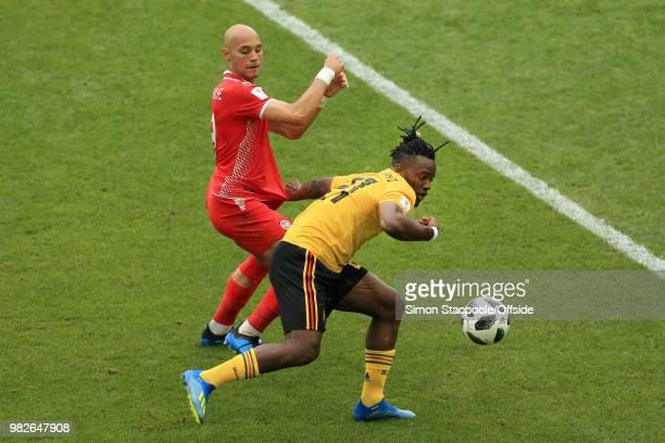 Yohan Benalouane of Tunisia battles with Michy Batshuayi of Belgium during the 2018 FIFA World Cup Russia Group G match between Belgium and Tunisia...