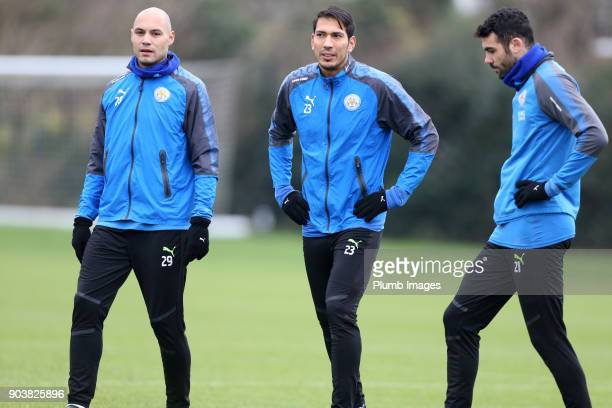 Yohan Benelouane Leo Ulloa and Vicente Iborra during the Leicester City training session at Belvoir Drive Training Complex on January 11th 2018 in...