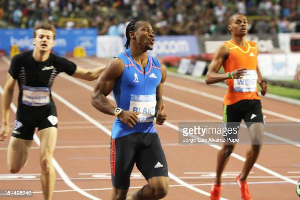 Yohan Blake of Jamaica after winning the Men's 200m with 19S54 at the IAAF Golden League meeting at the Memorial Van Damme Stadium on September 07,...
