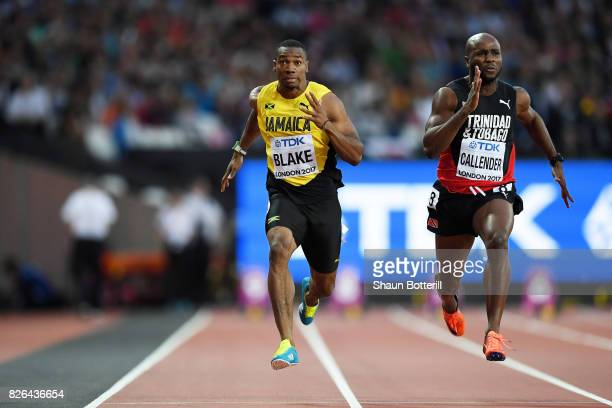 Yohan Blake of Jamaica and Emmanuel Callender of Trinidad and Tobago compete in the Men's 100 metres heats during day one of the 16th IAAF World...