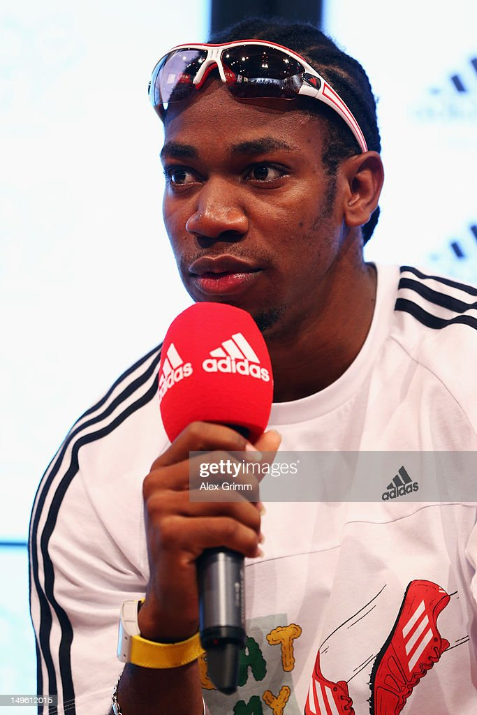 67d8909f9f1 Yohan Blake of Jamaica attends the adidas Olympic Media Lounge at ...