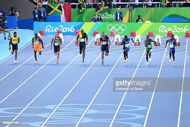 Yohan Blake of Jamaica Ben Youssef Meite of Ivory Coast Andre de Grasse of Canada Usain Bolt of Jamaica Jimmy Vicaut of France Justin Gatlin of...