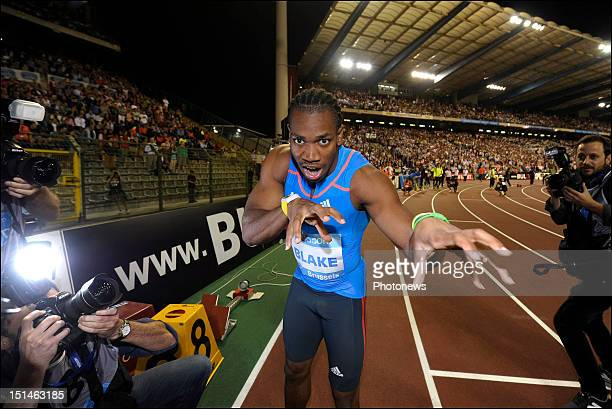Yohan Blake of Jamaica celebrates after winning the Men's 200M race on the 14th and last leg of the Samsung Diamond athletics league during the...