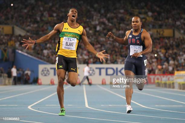 Yohan Blake of Jamaica celebrates winning the men's 100 metres final during day two of the 13th IAAF World Athletics Championships at the Daegu...