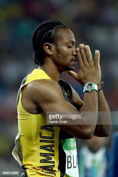 Yohan Blake of Jamaica competes in the Men's 100 meter semifinal on Day 9 of the Rio 2016 Olympic Games at the Olympic Stadium on August 14, 2016 in...