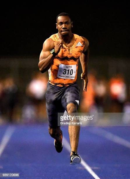 Yohan Blake of Jamaica competes in the Men's 100m event during the 2018 Queensland Track Classic at QSAC on March 28 2018 in Brisbane Australia