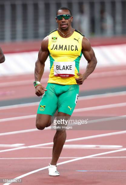 Yohan Blake of Jamaica in the heats of the mens 100m during the Athletics event on Day 8 of the Tokyo 2020 Olympic Games at the Olympic Stadium on...