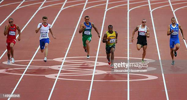 Yohan Blake of Jamaica leads the pack during the Men's 200m Semifinals on Day 12 of the London 2012 Olympic Games at Olympic Stadium on August 8 2012...