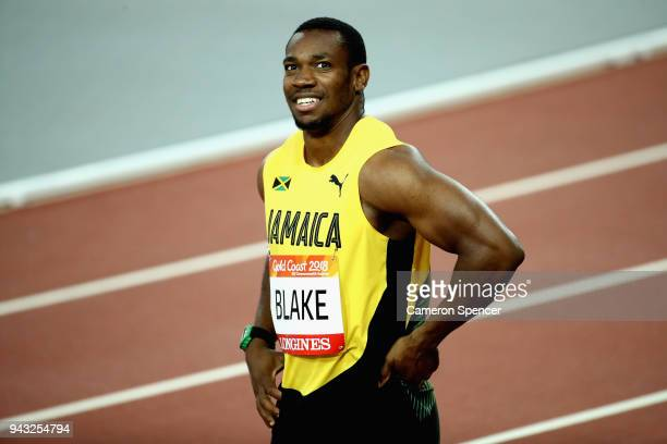 Yohan Blake of Jamaica looks on after he competes in the Men's 100 metres semi finals on day four of the Gold Coast 2018 Commonwealth Games at...