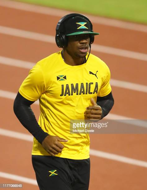 Yohan Blake of Jamaica looks on during a training session prior to the 17th IAAF World Athletics Championships Doha 2019 at Qatar Sports Club on...