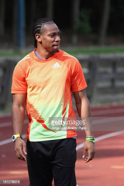 Yohan Blake of Jamaica, poses for a picture at the Adidas Kids Clinic at the stadium De Drie Fonteinen, as part of the IAAF Golden League Memorial...