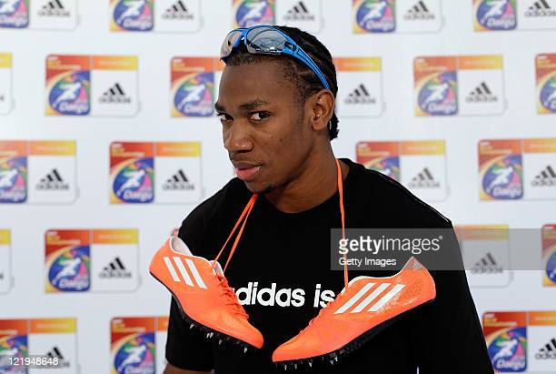 Yohan Blake of Jamaica poses for a portrait session at the Daegu Sport Museum on August 24 2011 in Daegu South Korea