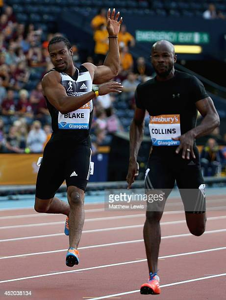 Yohan Blake of Jamaica pulls up in the Mens 100m Final with a hamstring injury during day one of the Diamond League Sainsbury's Glasgow Grand Prix at...