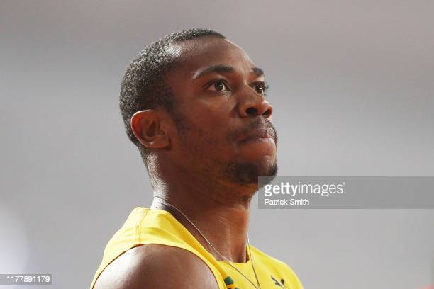 Yohan Blake of Jamaica reacts after competing in the Men's 200 Metres heats during day three of 17th IAAF World Athletics Championships Doha 2019 at...