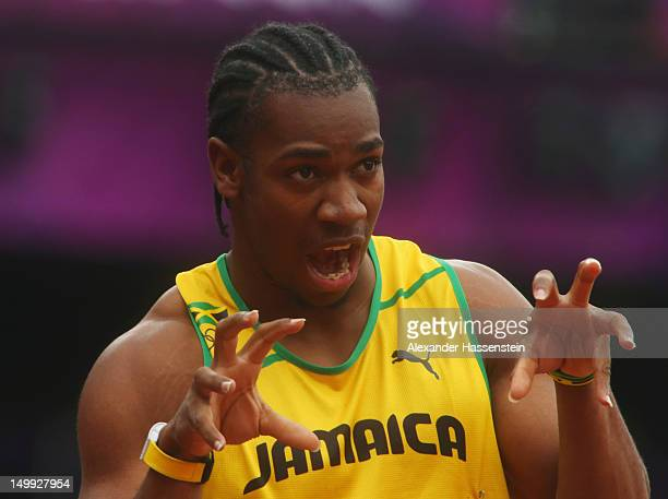 Yohan Blake of Jamaica reacts after competing in the Men's 200m Round 1 Heats on Day 11 of the London 2012 Olympic Games at Olympic Stadium on August...