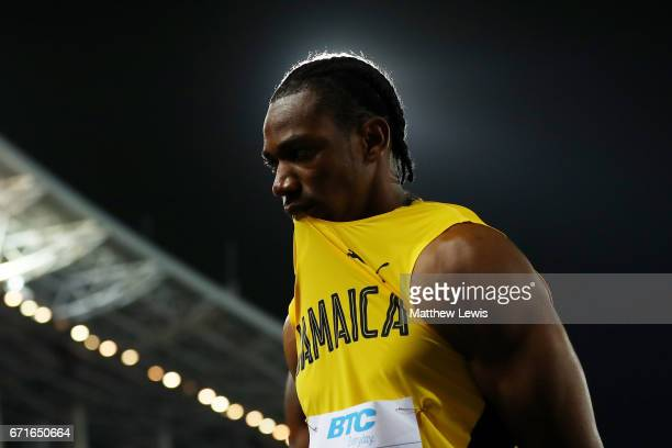 Yohan Blake of Jamaica reacts after heat two of the Men's 4 x 100 Meters Relay during the IAAF/BTC World Relays Bahamas 2017 at Thomas Robinson...